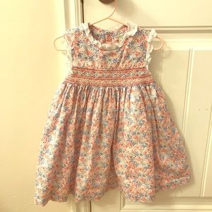Darling Girl's French Smocked Cotton Dress